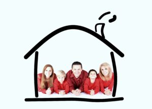 family within an illustrated house