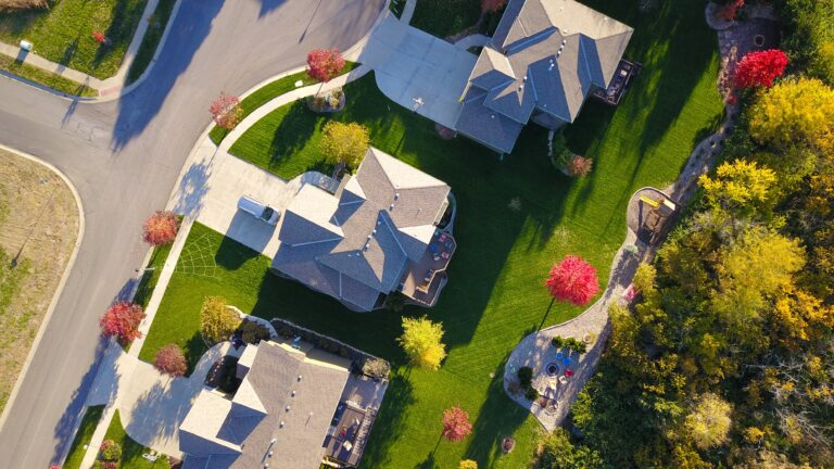 Overhead shot of large houses