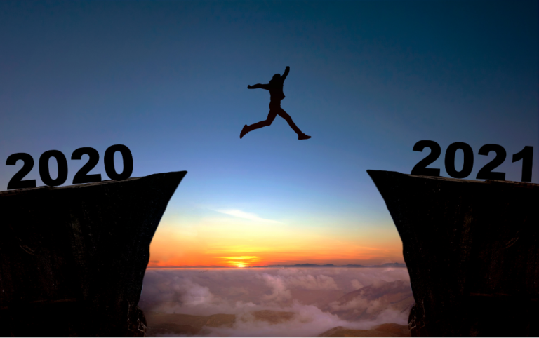 person leaping from 2020 into 2021